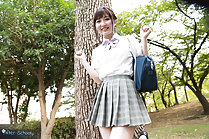 Wakatsuki Maria in park wearing uniform in pleated skirt