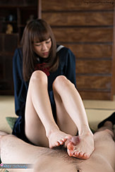 Giving Footjob With Bare Feet Knees Drawn Up
