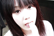 Cutie Machiko Strips On Steps And Playfully Eats A Banana