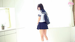 Standing Against Window Looking Over Her Shoulder Wearing Sailor Suit Uniform Bag Over Her Shoulder