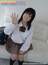 Kogal Momo Komori sitting on couch wearing uniform white shirt plaid skirt dark blue socks