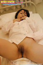 On her back shaved pussy bared