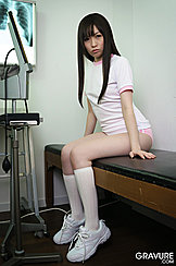 Seated On Examination Table Kogal Michiru Tsukino In Gym Uniform Long Hair Falling Down Over Her Breasts