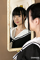 Kogal Miku Himeno Looking In Mirror Wearing Sailor Suit Outfit