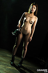 Standing With Thighs Slightly Parted Small Breasts Holding Gas Mask