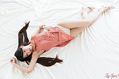 Lying On Her Back Long Legs Stretched Out To High Heels Long Hair