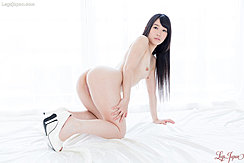 On All Fours Nude Long Hair Hanging Down Small Breasts Nice Ass Wearing White High Heels