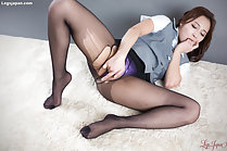 Sucking her fingers fingering pussy wearing ripped pantyhose