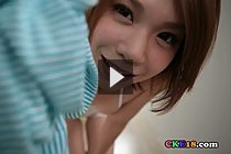 Ryouko Strips Striped Top And White Shorts In High Heels